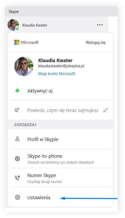 Ustawienia kamery na Skypie