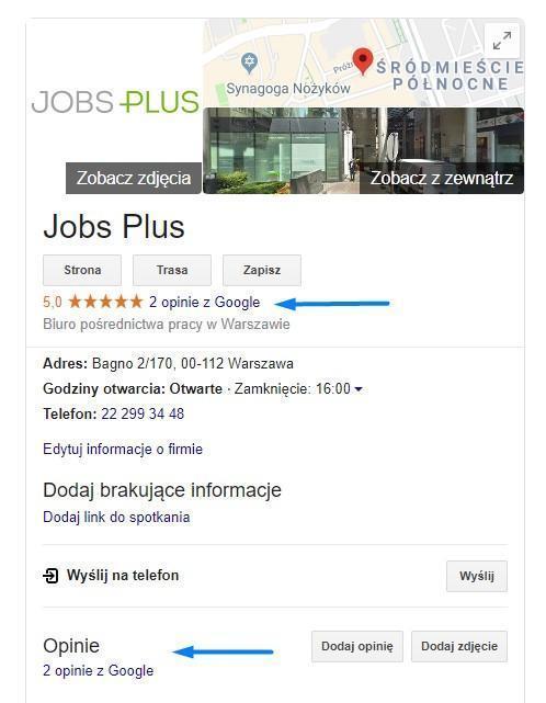 opinie o firmie w google